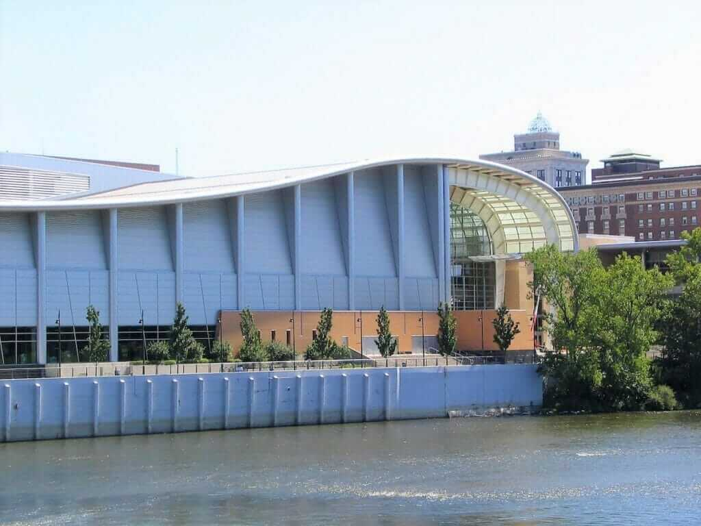 view of Devos Place Convention Center from the Grand River