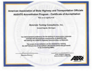 MTC's AASHTO Accreditation Certificate