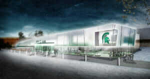artist rendering of Munn Ice Arena renovation and Michigan State University